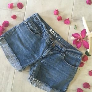 Roxy Cuffed Denim Jean Shorts